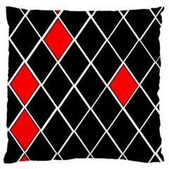 Elegant Black And White Red Diamonds Pattern Large Cushion Case (Two Sides)
