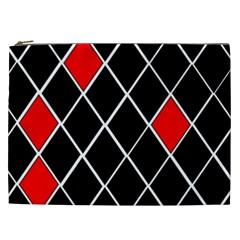 Elegant Black And White Red Diamonds Pattern Cosmetic Bag (XXL)