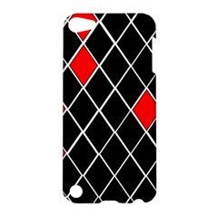 Elegant Black And White Red Diamonds Pattern Apple iPod Touch 5 Hardshell Case