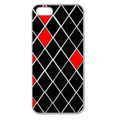 Elegant Black And White Red Diamonds Pattern Apple Seamless iPhone 5 Case (Clear)