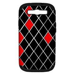 Elegant Black And White Red Diamonds Pattern Samsung Galaxy S III Hardshell Case (PC+Silicone)