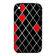 Elegant Black And White Red Diamonds Pattern iPhone 3S/3GS