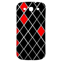 Elegant Black And White Red Diamonds Pattern Samsung Galaxy S3 S III Classic Hardshell Back Case
