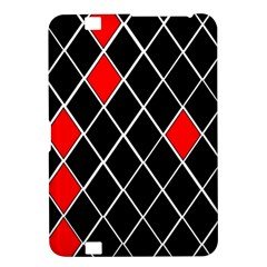 Elegant Black And White Red Diamonds Pattern Kindle Fire HD 8.9