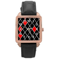 Elegant Black And White Red Diamonds Pattern Rose Gold Leather Watch