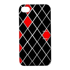 Elegant Black And White Red Diamonds Pattern Apple iPhone 4/4S Hardshell Case with Stand