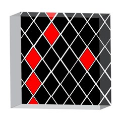 Elegant Black And White Red Diamonds Pattern 5  x 5  Acrylic Photo Blocks