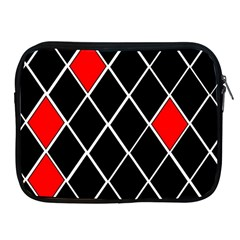 Elegant Black And White Red Diamonds Pattern Apple iPad 2/3/4 Zipper Cases