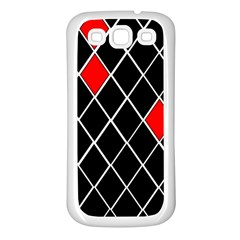 Elegant Black And White Red Diamonds Pattern Samsung Galaxy S3 Back Case (White)