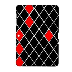 Elegant Black And White Red Diamonds Pattern Samsung Galaxy Tab 2 (10.1 ) P5100 Hardshell Case