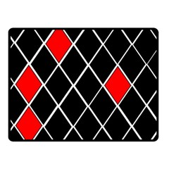 Elegant Black And White Red Diamonds Pattern Double Sided Fleece Blanket (Small)