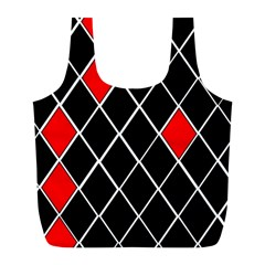 Elegant Black And White Red Diamonds Pattern Full Print Recycle Bags (L)