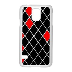 Elegant Black And White Red Diamonds Pattern Samsung Galaxy S5 Case (White)