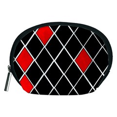 Elegant Black And White Red Diamonds Pattern Accessory Pouches (Medium)