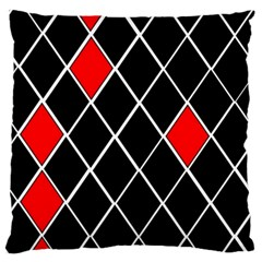 Elegant Black And White Red Diamonds Pattern Large Flano Cushion Case (Two Sides)