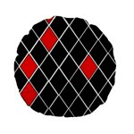 Elegant Black And White Red Diamonds Pattern Standard 15  Premium Flano Round Cushions Front