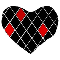Elegant Black And White Red Diamonds Pattern Large 19  Premium Flano Heart Shape Cushions