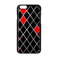 Elegant Black And White Red Diamonds Pattern Apple iPhone 6/6S Black Enamel Case