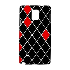 Elegant Black And White Red Diamonds Pattern Samsung Galaxy Note 4 Hardshell Case