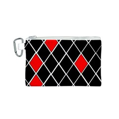Elegant Black And White Red Diamonds Pattern Canvas Cosmetic Bag (S)
