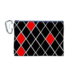Elegant Black And White Red Diamonds Pattern Canvas Cosmetic Bag (M)