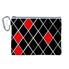 Elegant Black And White Red Diamonds Pattern Canvas Cosmetic Bag (L)