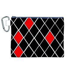 Elegant Black And White Red Diamonds Pattern Canvas Cosmetic Bag (XL)