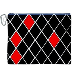 Elegant Black And White Red Diamonds Pattern Canvas Cosmetic Bag (XXXL)