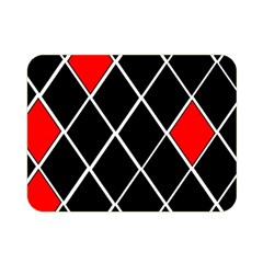 Elegant Black And White Red Diamonds Pattern Double Sided Flano Blanket (Mini)