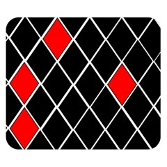 Elegant Black And White Red Diamonds Pattern Double Sided Flano Blanket (Small)