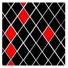 Elegant Black And White Red Diamonds Pattern Large Satin Scarf (Square)