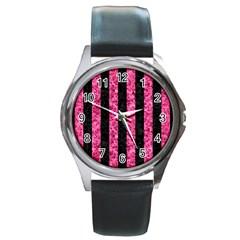 STR1 BK-PK MARBLE Round Metal Watch