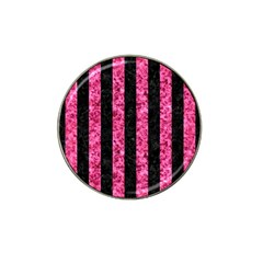 Stripes1 Black Marble & Pink Marble Hat Clip Ball Marker (10 Pack)