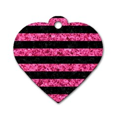 STR2 BK-PK MARBLE Dog Tag Heart (Two Sides)