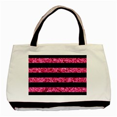 Stripes2 Black Marble & Pink Marble Basic Tote Bag (two Sides)
