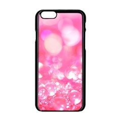 Cute pink transparent diamond  Apple iPhone 6/6S Black Enamel Case