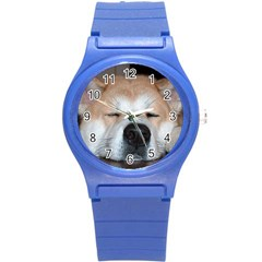 Akita Sleeping Round Plastic Sport Watch (S)