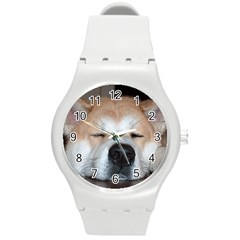 Akita Sleeping Round Plastic Sport Watch (M)
