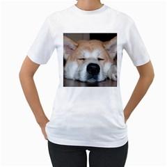 Akita Sleeping Women s T-Shirt (White)