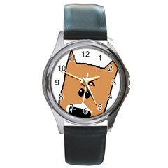 Peeping Basenji Round Metal Watch