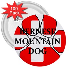 Ber Mt Dog Name Paw Switzerland Flag 3  Buttons (100 pack)