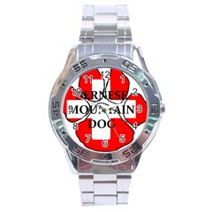 Ber Mt Dog Name Paw Switzerland Flag Stainless Steel Analogue Watch