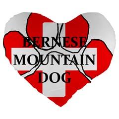 Ber Mt Dog Name Paw Switzerland Flag Large 19  Premium Heart Shape Cushions