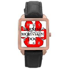 Ber Mt Dog Name Paw Switzerland Flag Rose Gold Leather Watch
