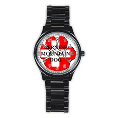 Ber Mt Dog Name Paw Switzerland Flag Stainless Steel Round Watch