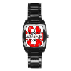Ber Mt Dog Name Paw Switzerland Flag Stainless Steel Barrel Watch