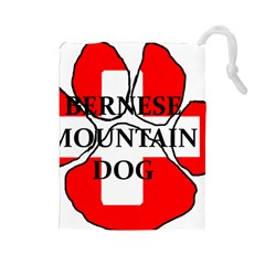 Ber Mt Dog Name Paw Switzerland Flag Drawstring Pouches (Large)