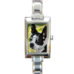 Boston Terrier Puppy Rectangle Italian Charm Watch