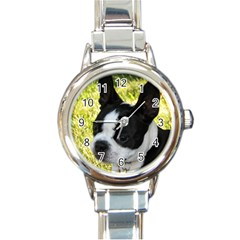 Boston Terrier Puppy Round Italian Charm Watch