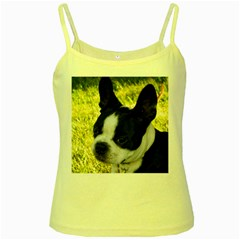 Boston Terrier Puppy Yellow Spaghetti Tank
